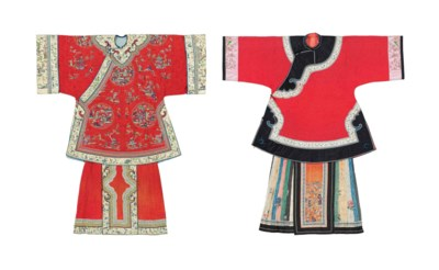 TWO RED-GROUND DAMASK LADY'S I