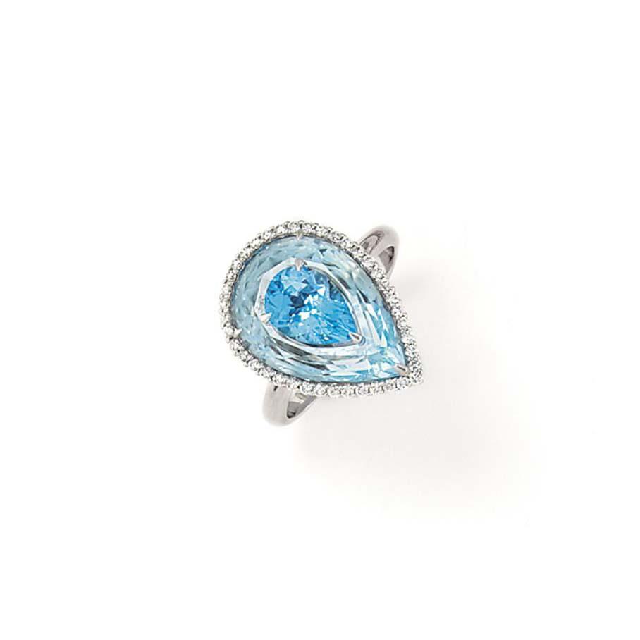 AN AQUAMARINE, TOPAZ AND DIAMOND-SET RING, BY BOGH-ART