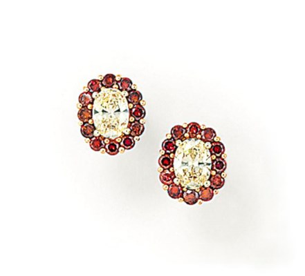 A PAIR OF DIAMOND AND COLOURED