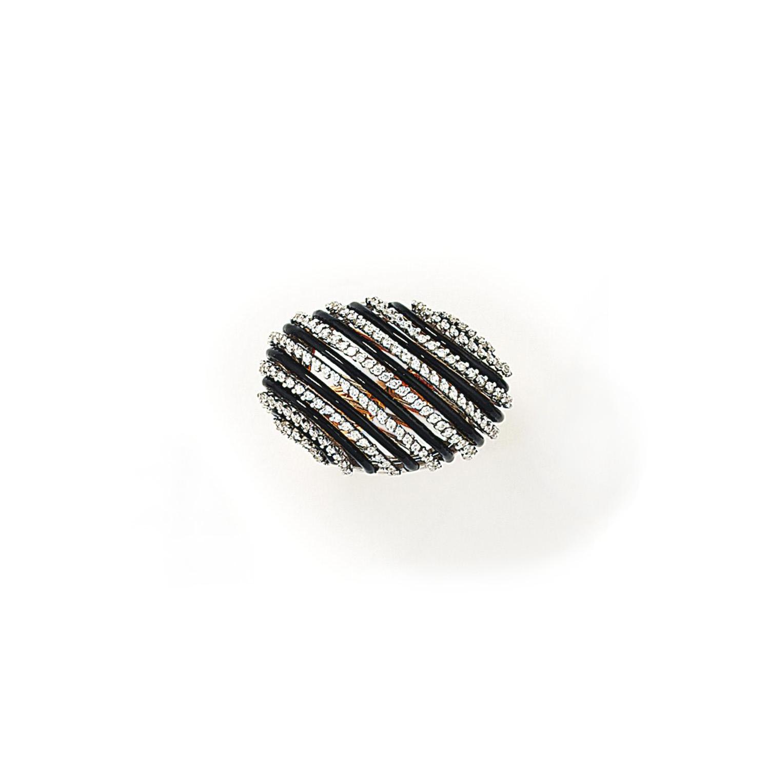 A DIAMOND AND ENAMEL DRESS RIN
