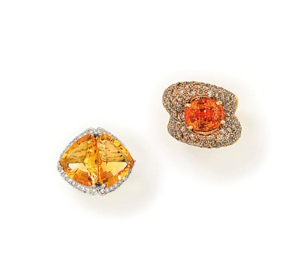 TWO DIAMOND AND GEM-SET RINGS