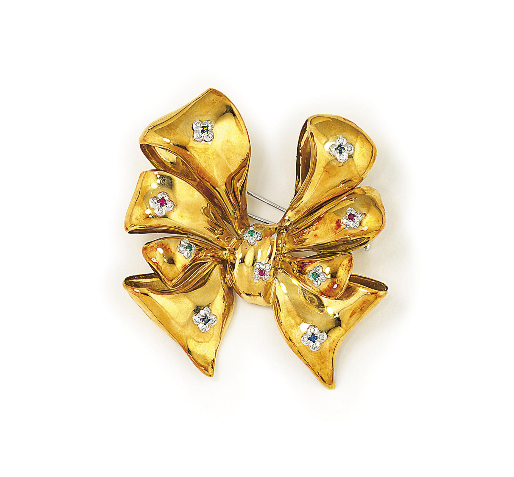 A DIAMOND AND GEM-SET BROOCH