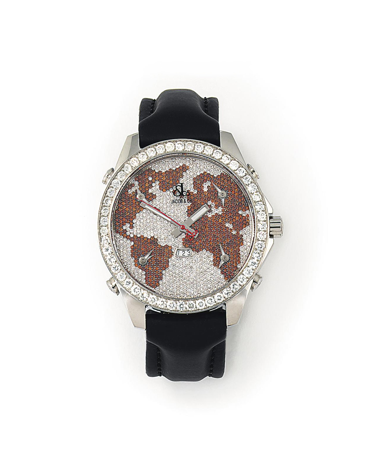 A DIAMOND AND TREATED DIAMOND-SET STAINLESS STEEL FIVE TIME ZONE QUARTZ WRISTWATCH, BY JACOB & CO.