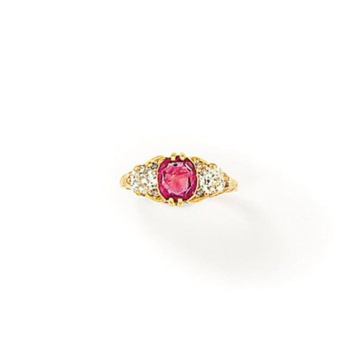 A LATE 19TH CENTURY RUBY AND D