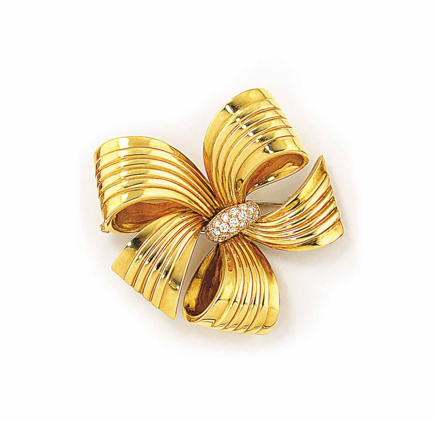 AN 18CT GOLD AND DIAMOND BOW B