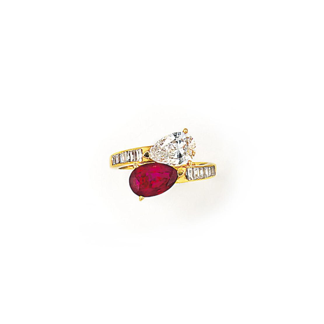 A RUBY AND DIAMOND TWO STONE R