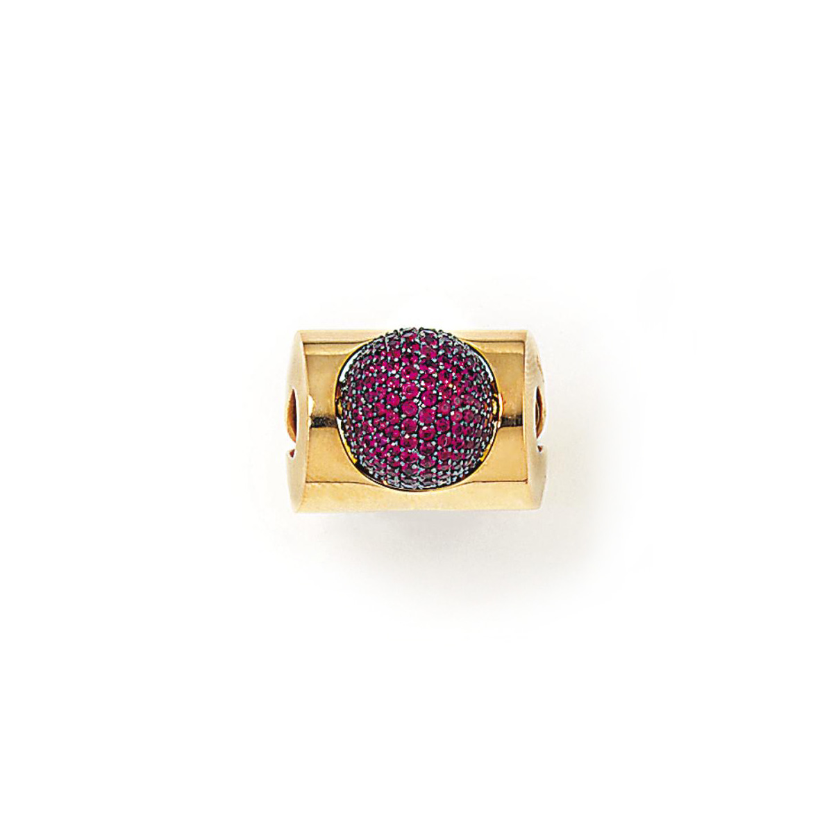 A RUBY DRESS RING, BY ENIGMA