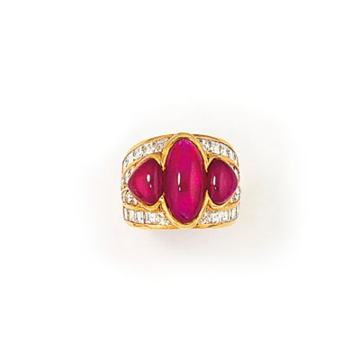 A RUBY AND DIAMOND RING, BY RE