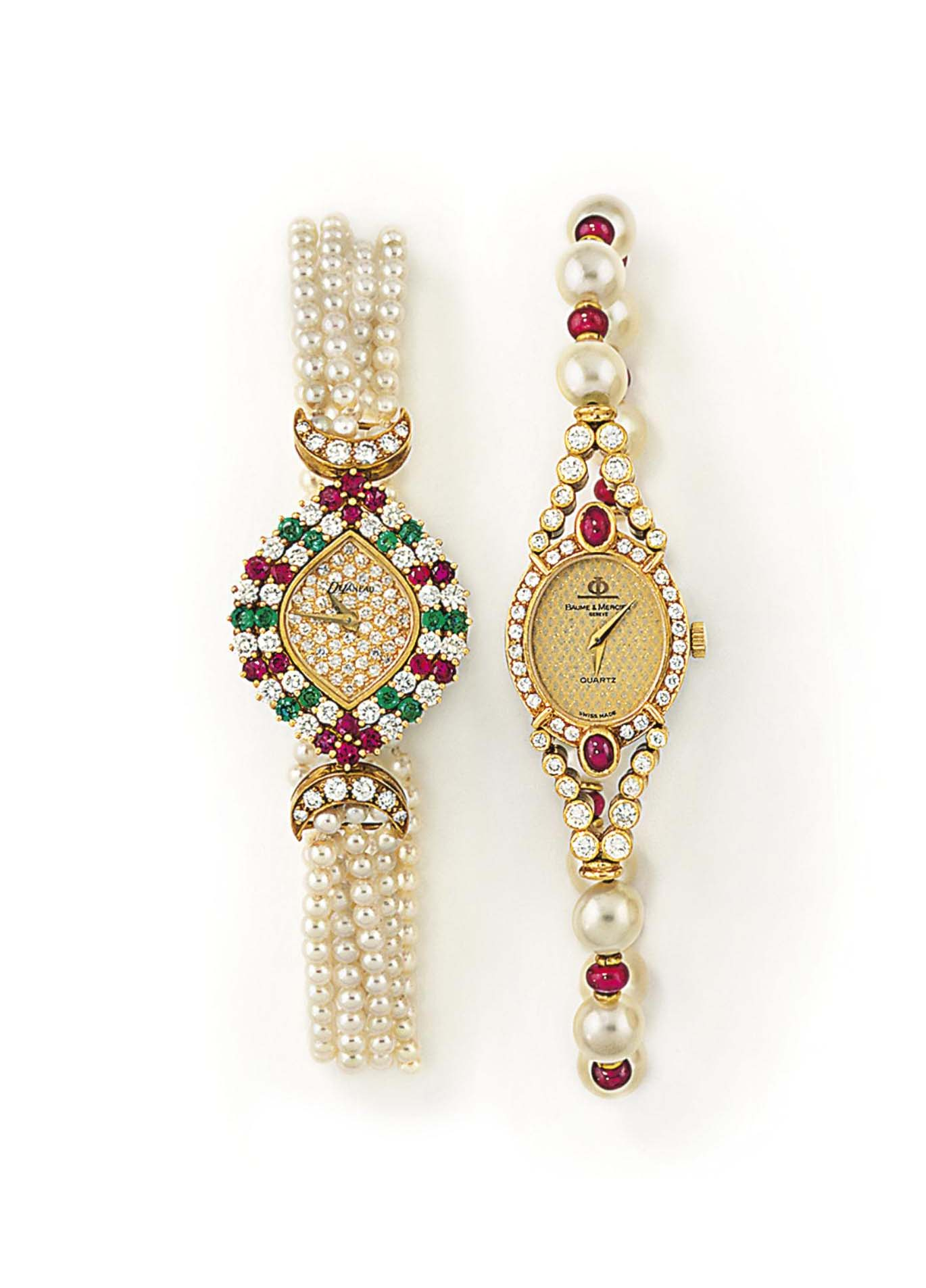 TWO DIAMOND, GEM AND CULTURED PEARL WRISTWATCHES, ONE BY BAUME & MERCIER, ONE BY DELANEAU