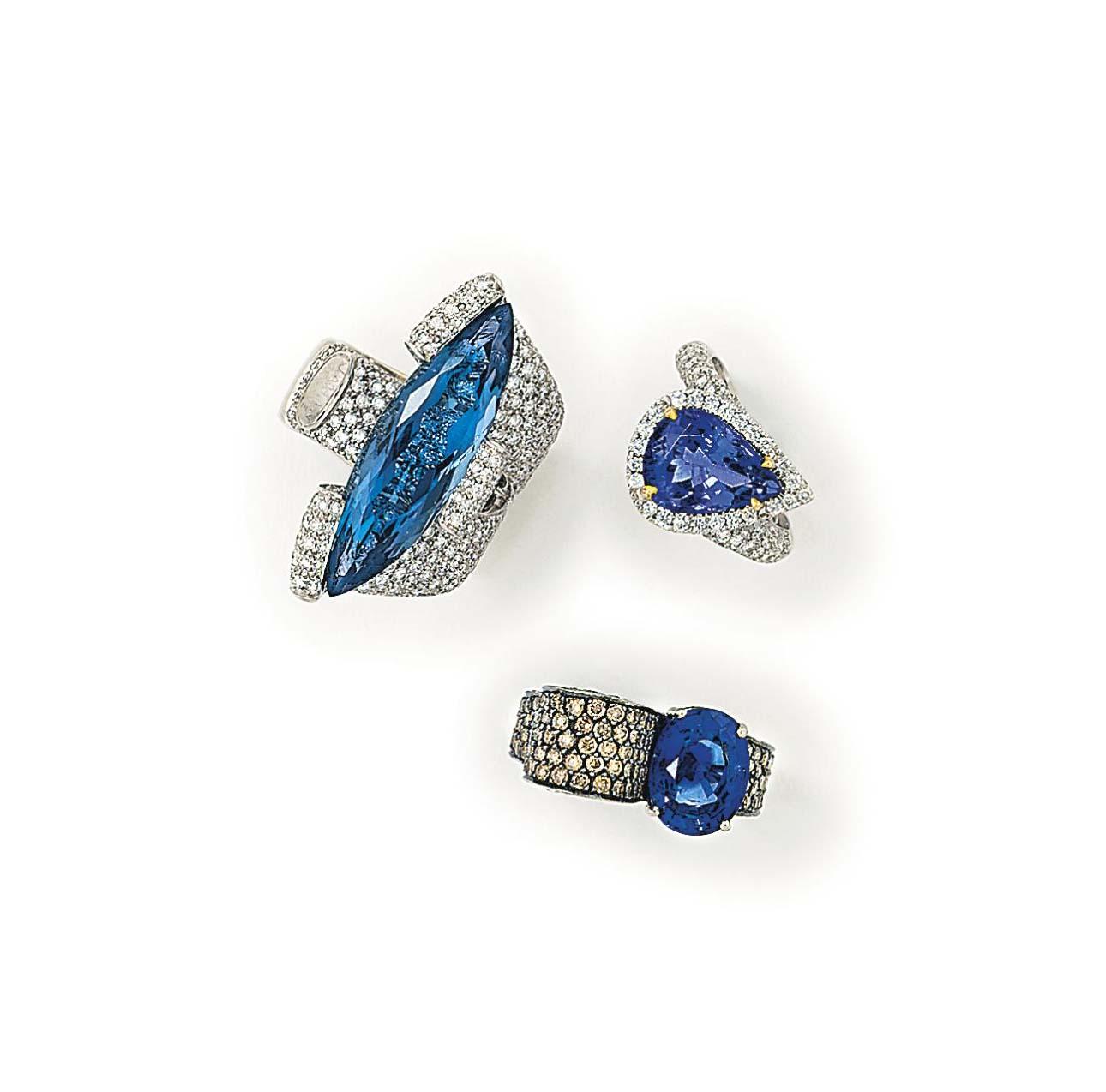 SIX DIAMOND AND GEM-SET DRESS RINGS