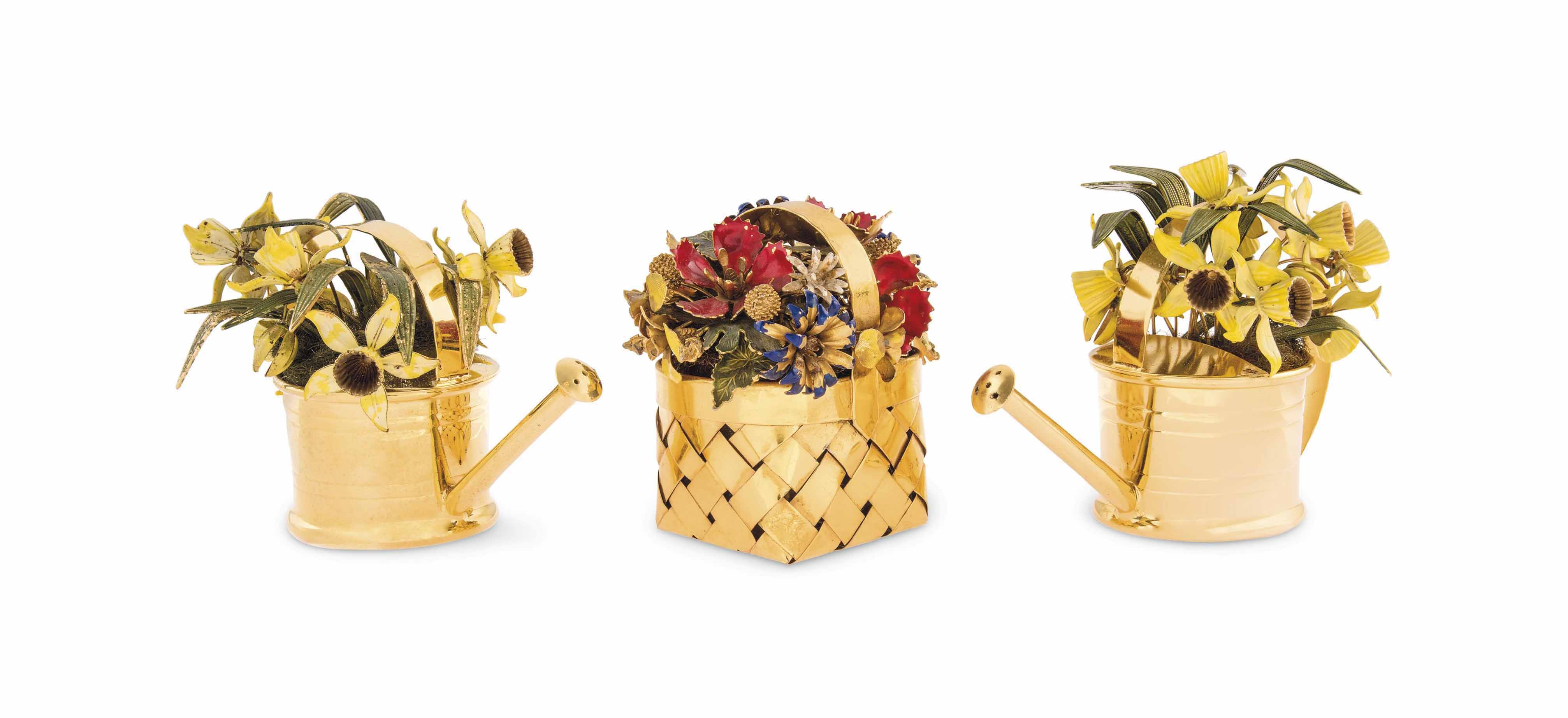 A SET OF THREE GILT AND ENAMEL