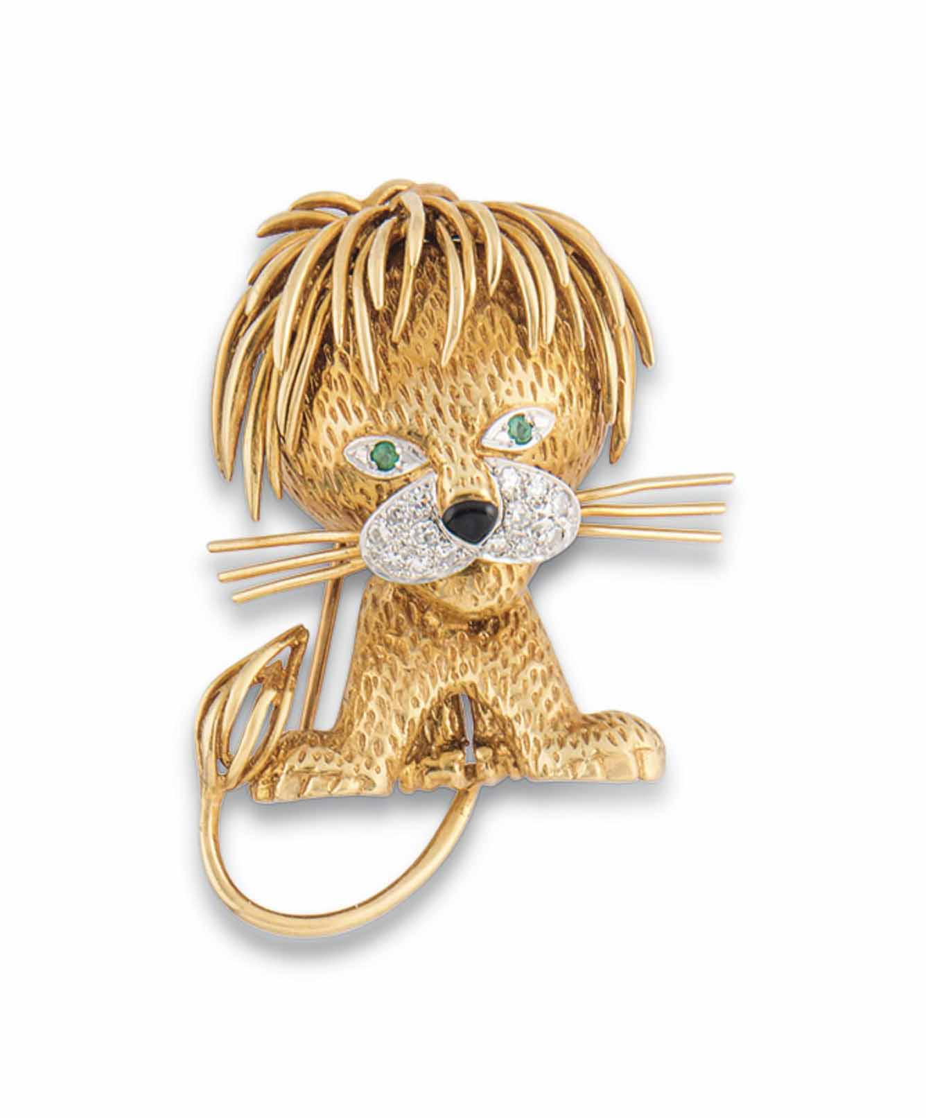 A GEM-SET LION BROOCH, BY VAN