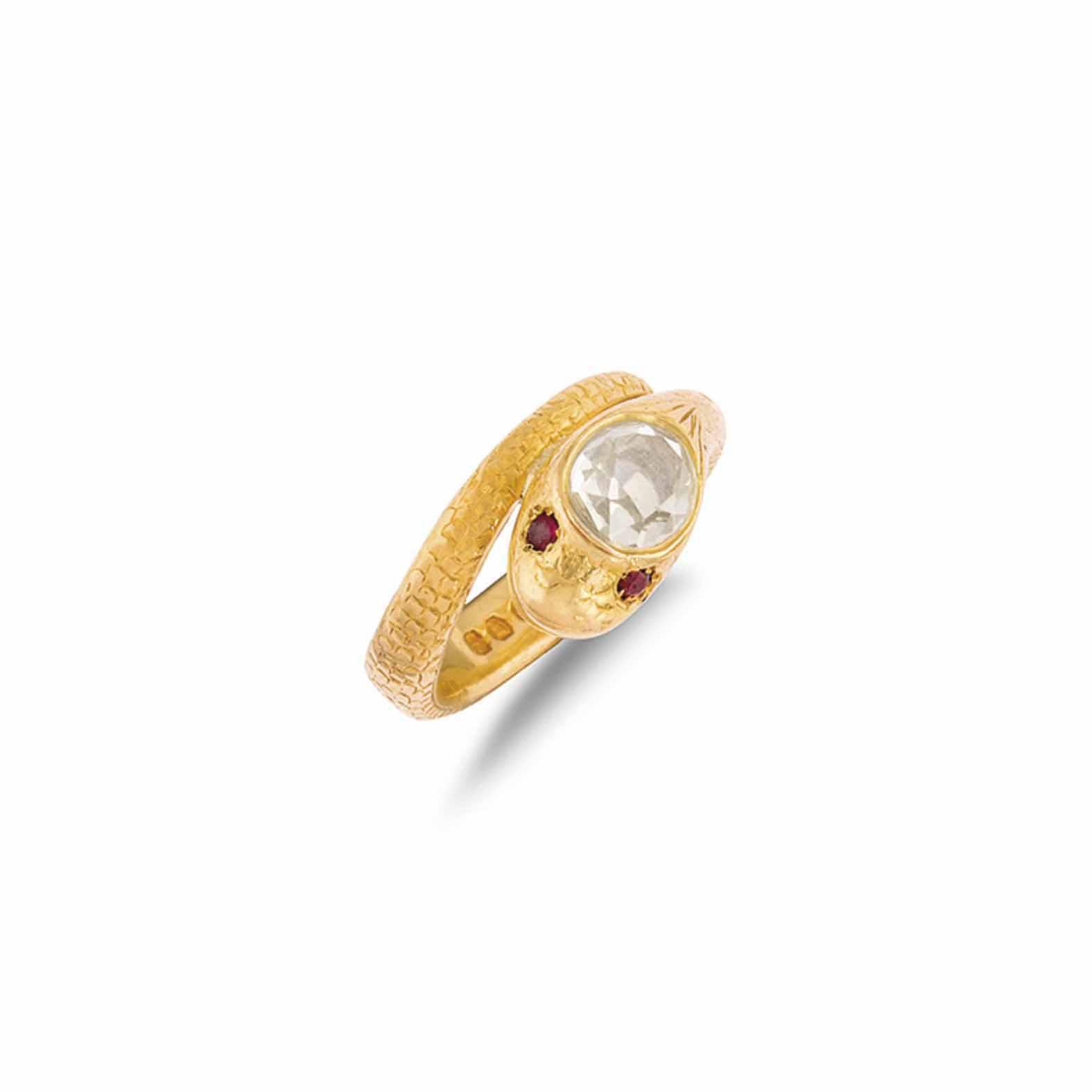 A DIAMOND SERPENT RING
