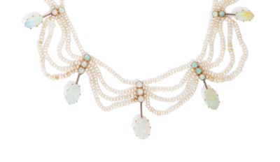 A LATE 19TH CENTURY OPAL AND S
