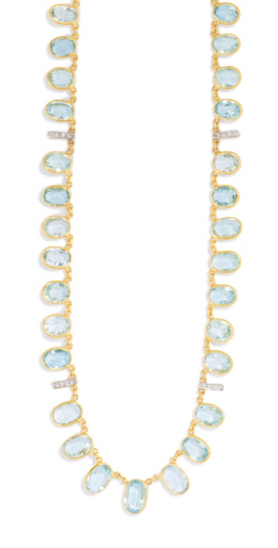 AN 18CT GOLD, AQUAMARINE AND D