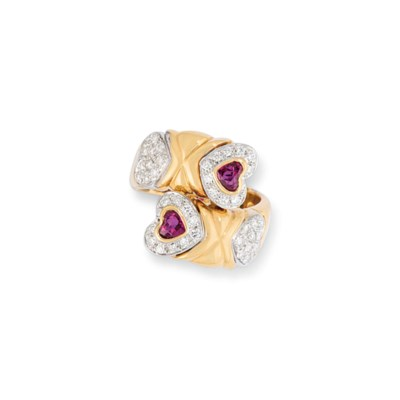 FOUR RUBY AND DIAMOND RINGS