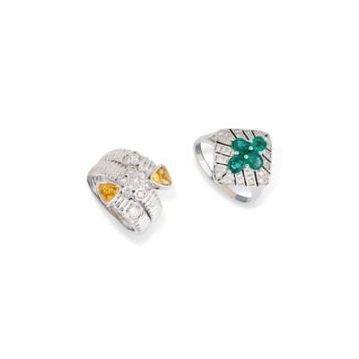 NINE DIAMOND AND GEM RINGS
