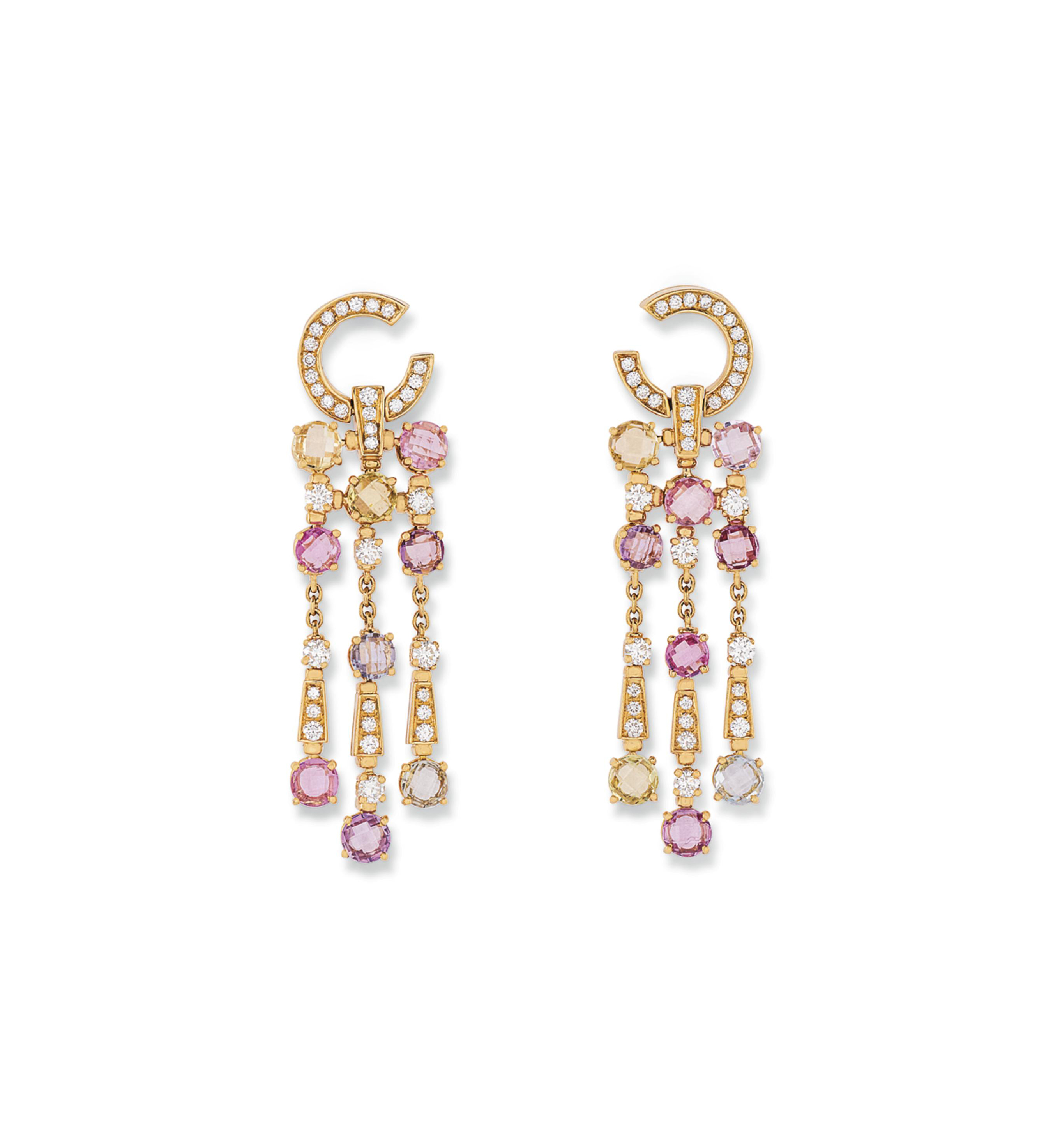 TWO PAIRS OF DIAMOND AND GEM-S