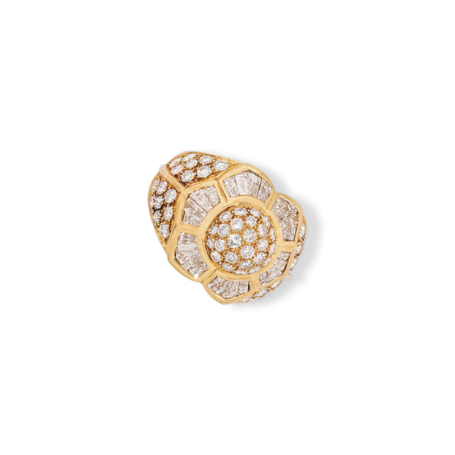 FIVE DIAMOND-SET DRESS RINGS AND ONE SAPPHIRE AND DIAMOND RI...