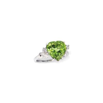 A PERIDOT AND DIAMOND RING, BY