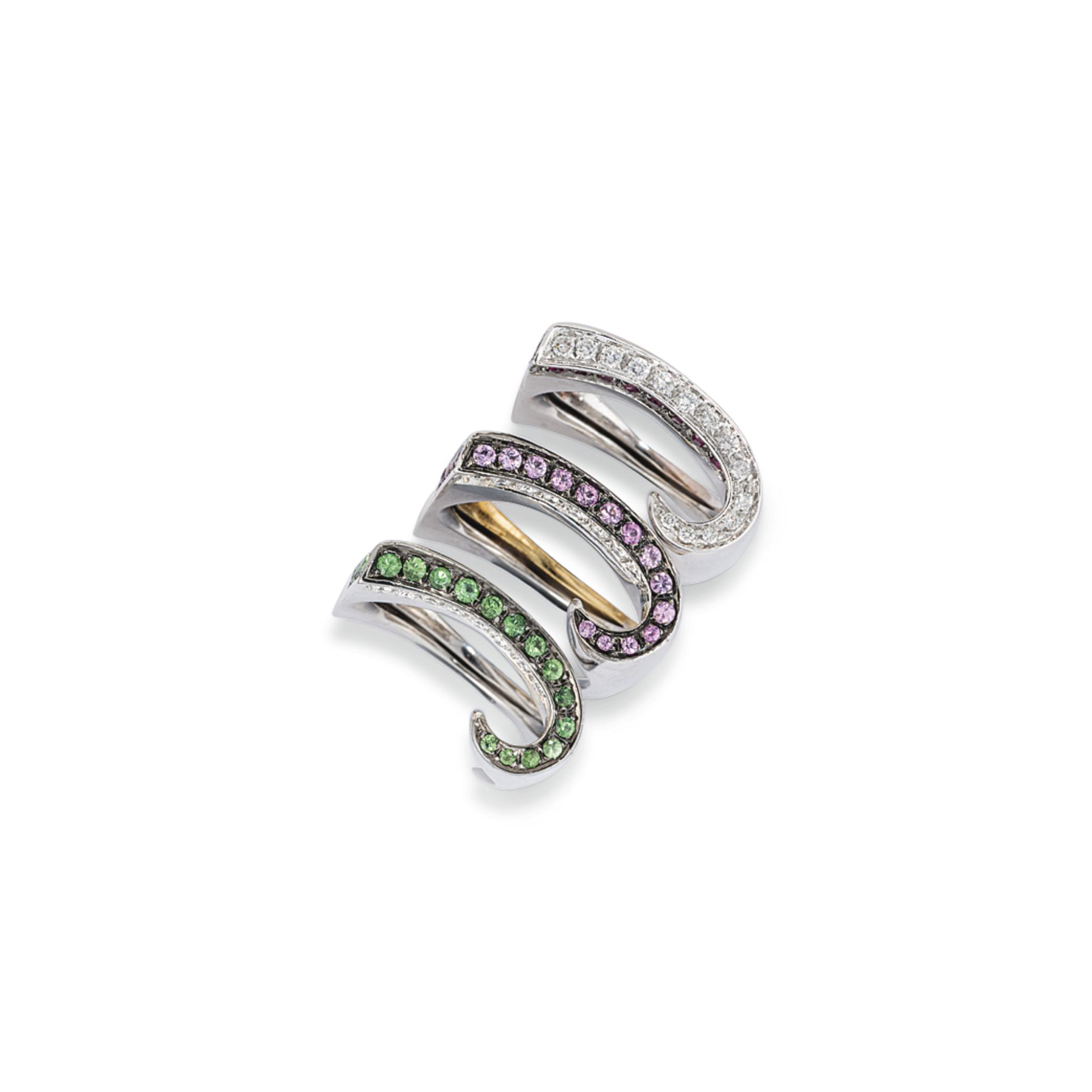SIX DIAMOND AND GEM-SET RINGS