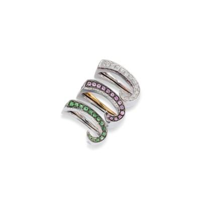 SIX DIAMOND AND GEM-SET RINGS