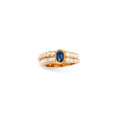TWO DIAMOND AND GEM RINGS, BY