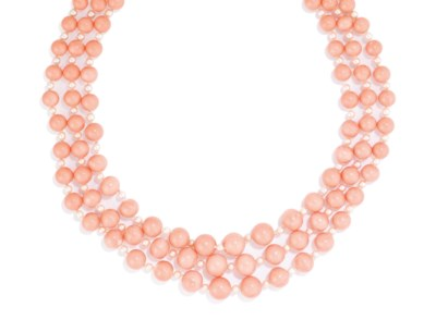 A CORAL AND SEED PEARL NECKLAC