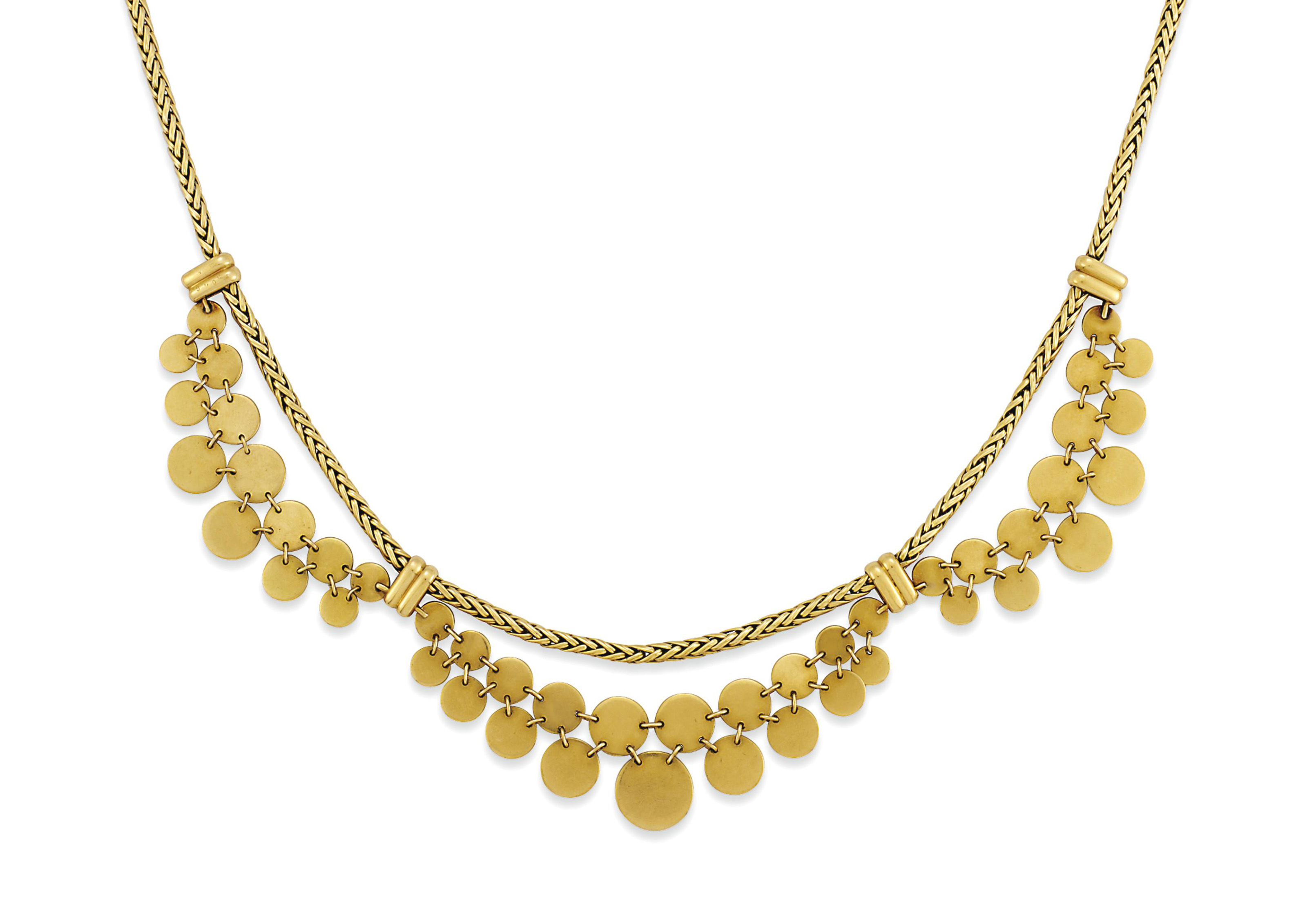 A FANCY-LINK NECKLACE, BY CARTIER