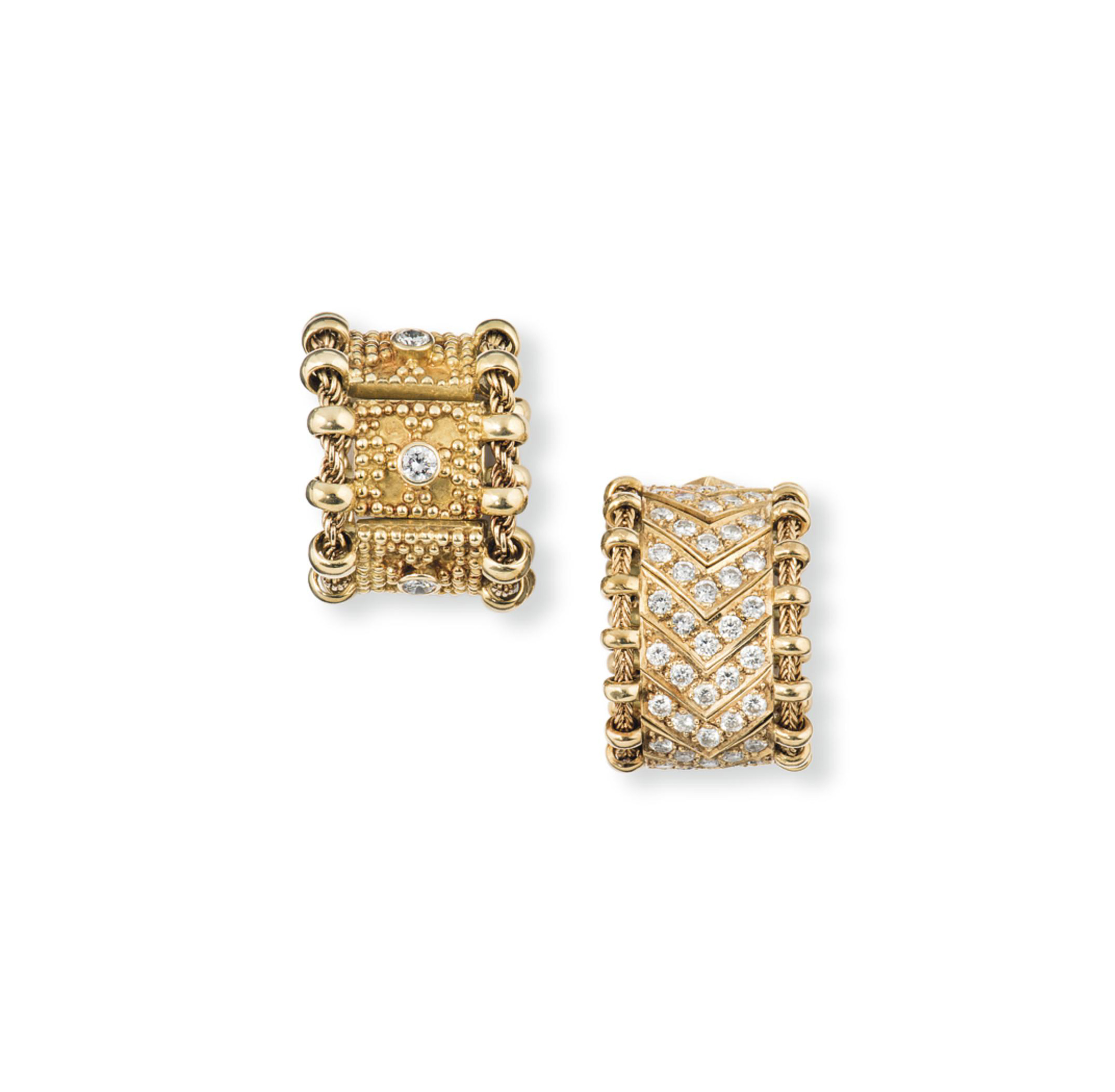 TWO 18CT GOLD AND DIAMOND-SET RINGS, BY ELIZABETH GAGE
