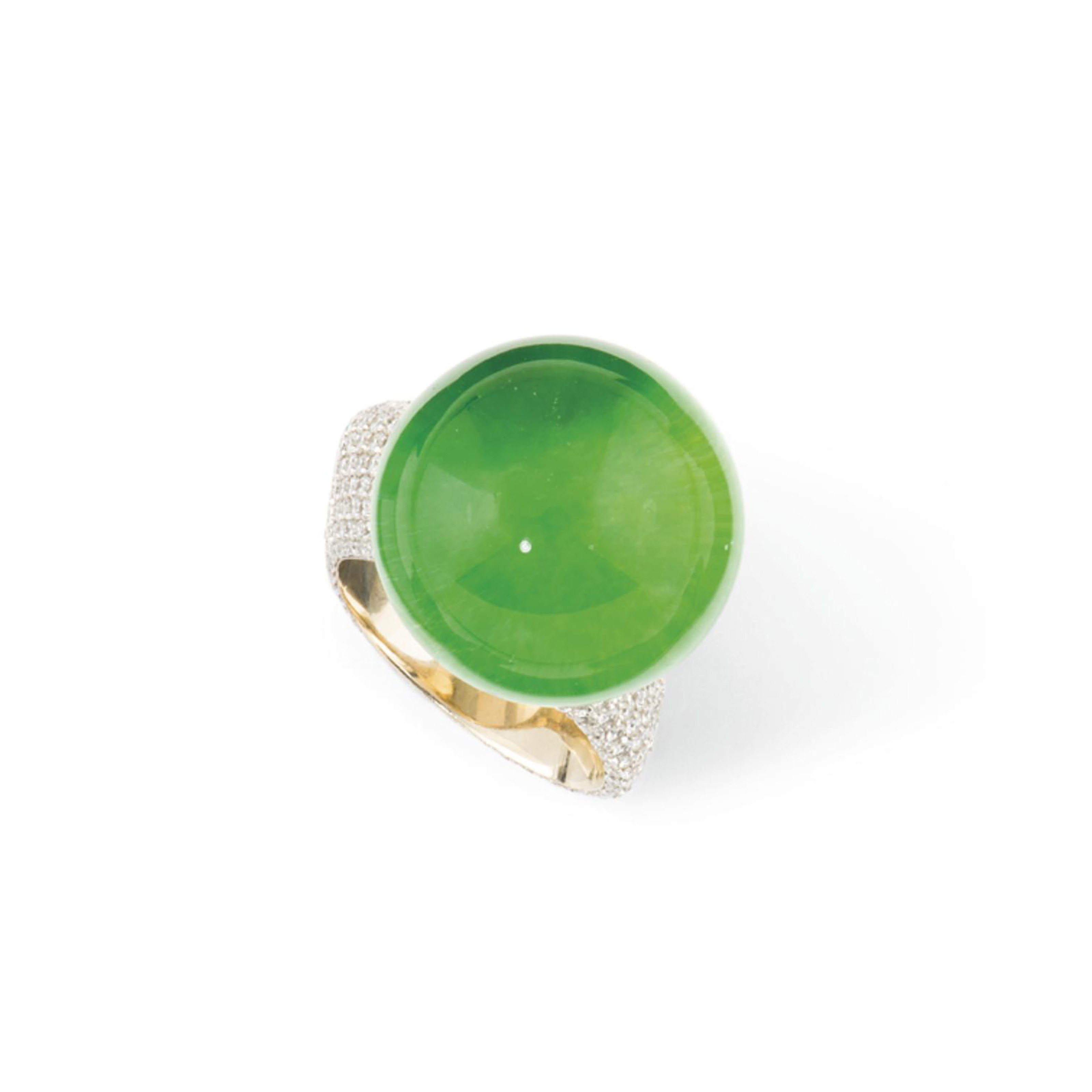 A DIAMOND, ROCK CRYSTAL AND JADEITE JADE RING, BY VHERNIER