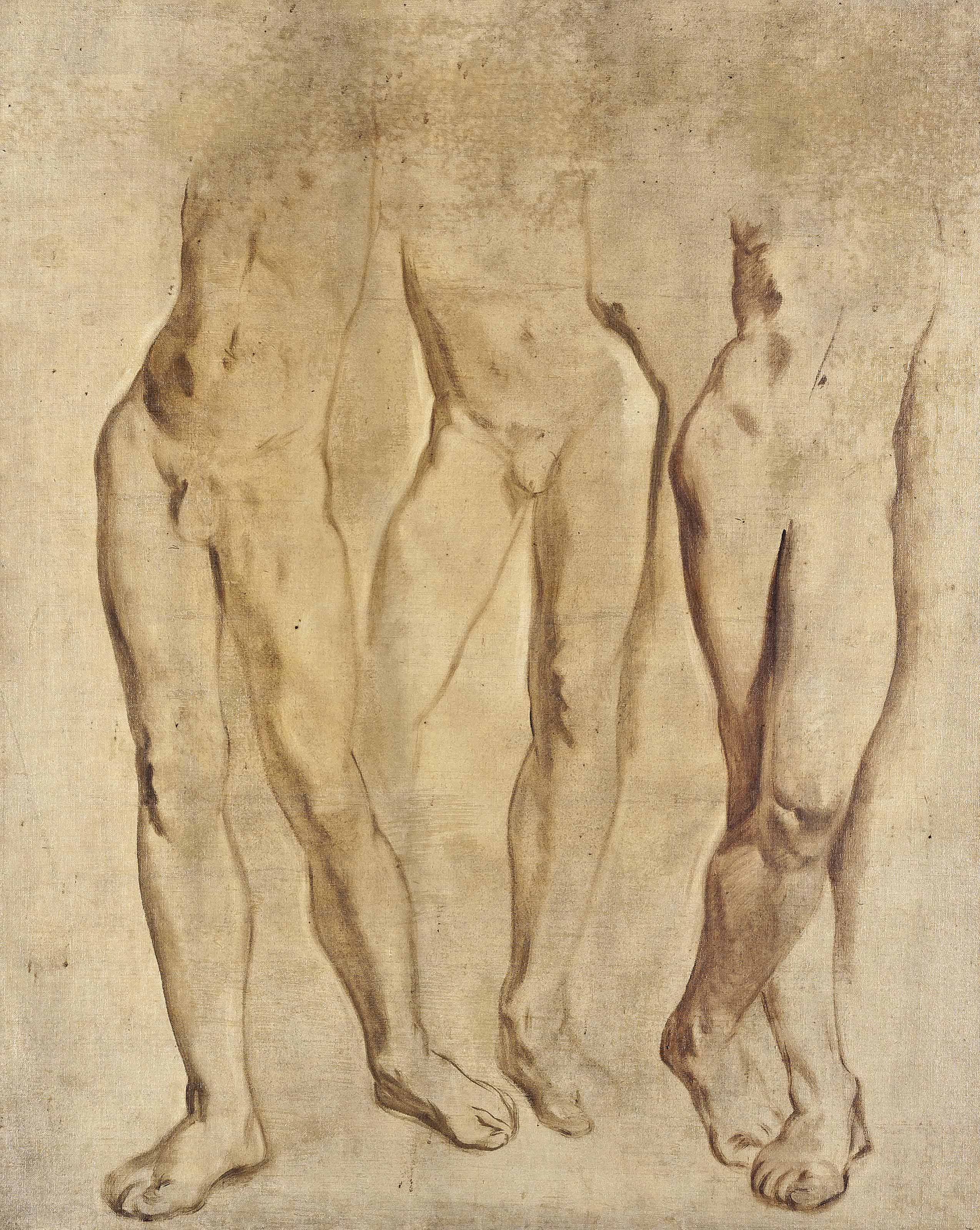 Three studies of a male nude