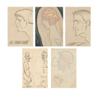 Five hand-illustrated postcards