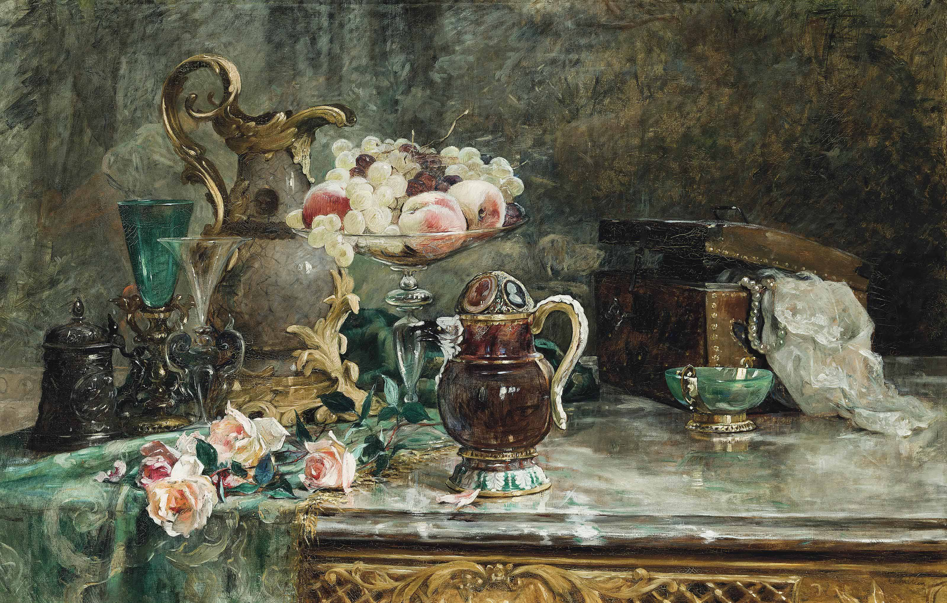 Roses, fruits and jewellery on a ledge