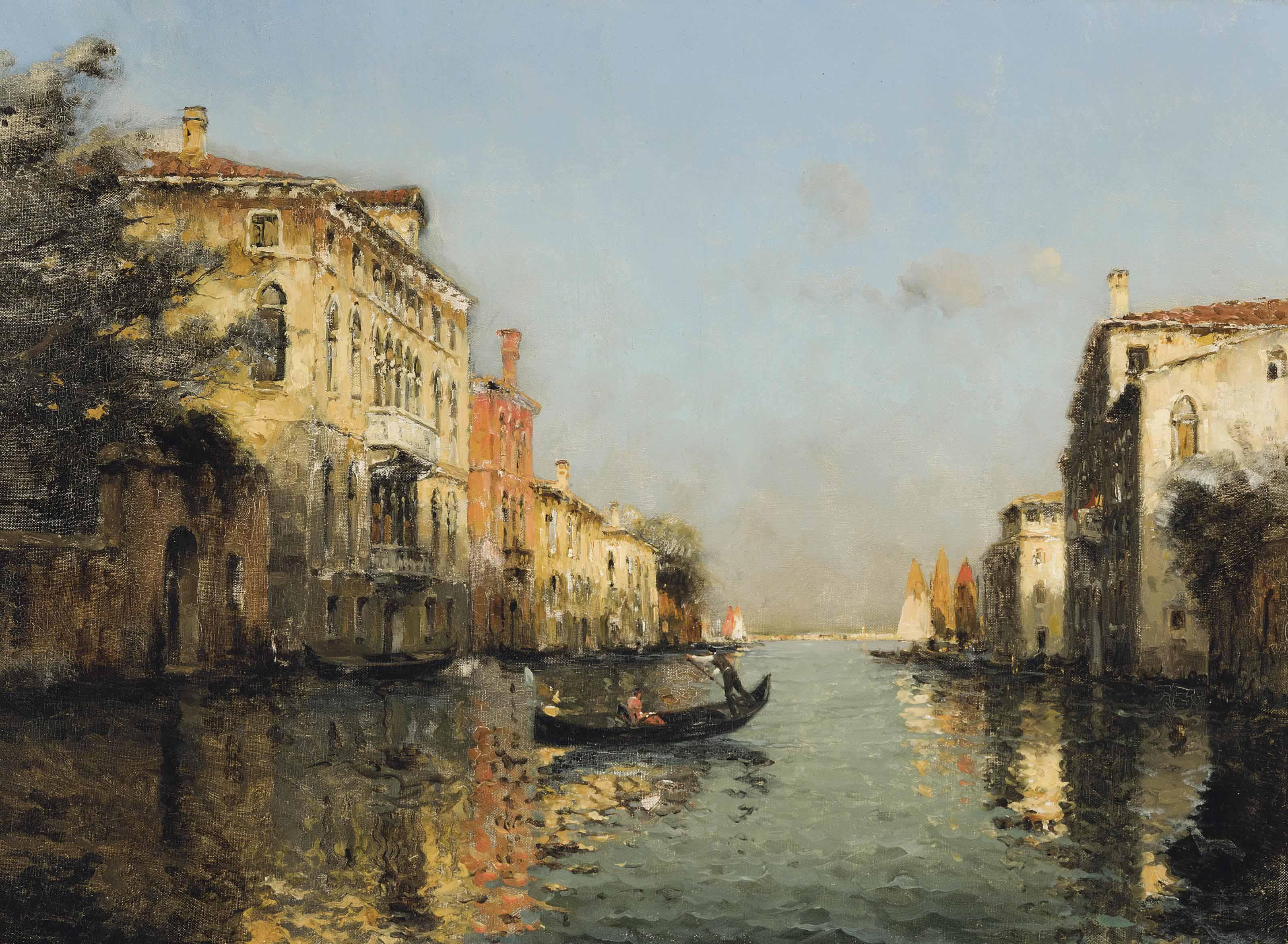 A gondolier on a Venetian backwater