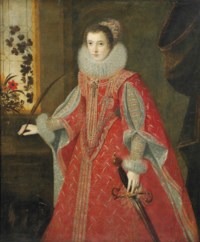Portrait of an Infanta as Saint Catherine of Alexandria, three-quarter-length, in a gold embroidered red dress, standing in an interior by a window