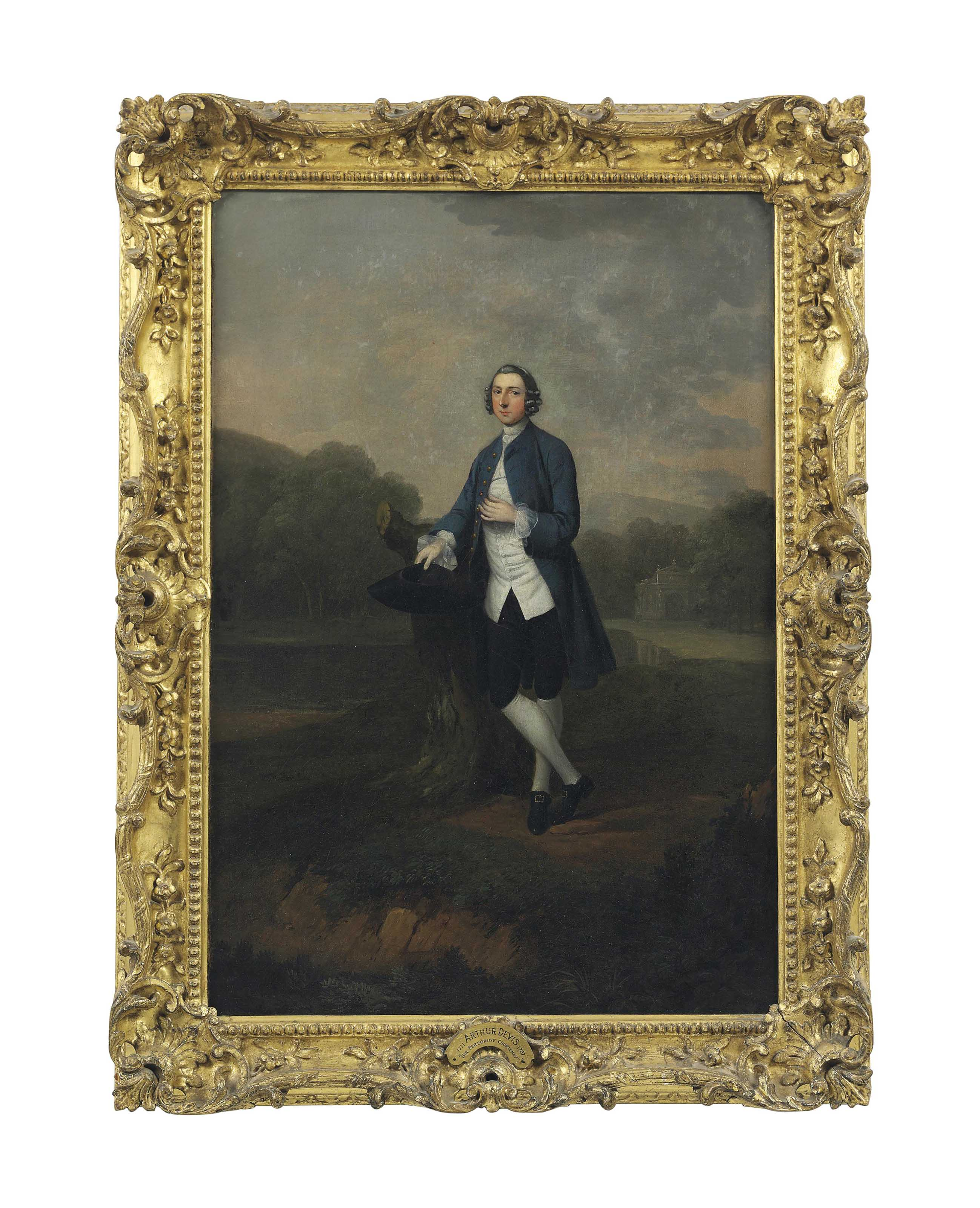 Portrait of Sir Peregrine Courtenay, standing full-length, in a park, leaning against a tree trunk in a blue coat and white waistcoat, holding a tricorn hat