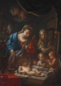The Madonna and sleeping Christ Child with an attending angel and cherubs making music