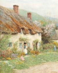 At the cottage door, near Bridport, Dorset