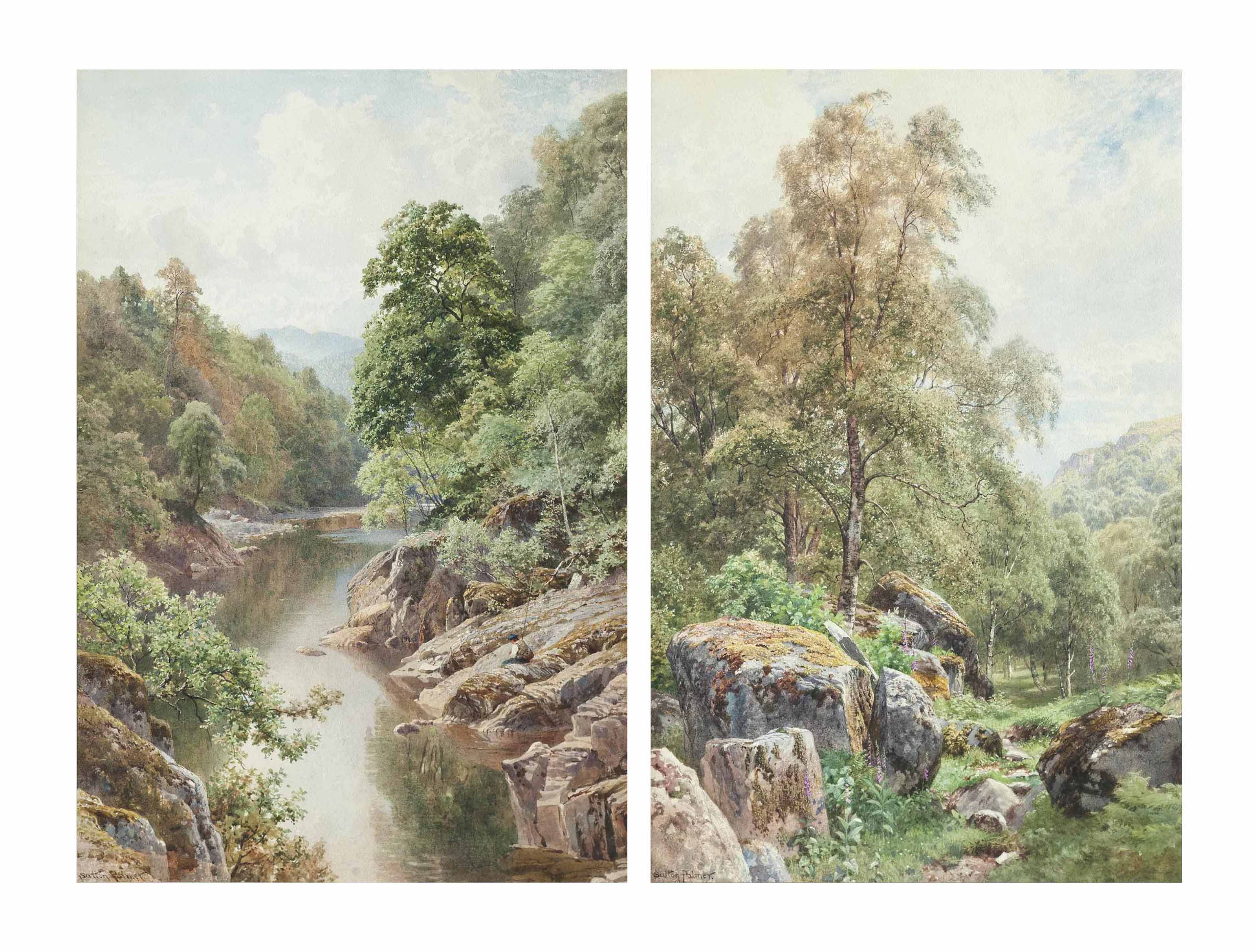 The river at Killiecrankie; and Birches and boulders, North Wales