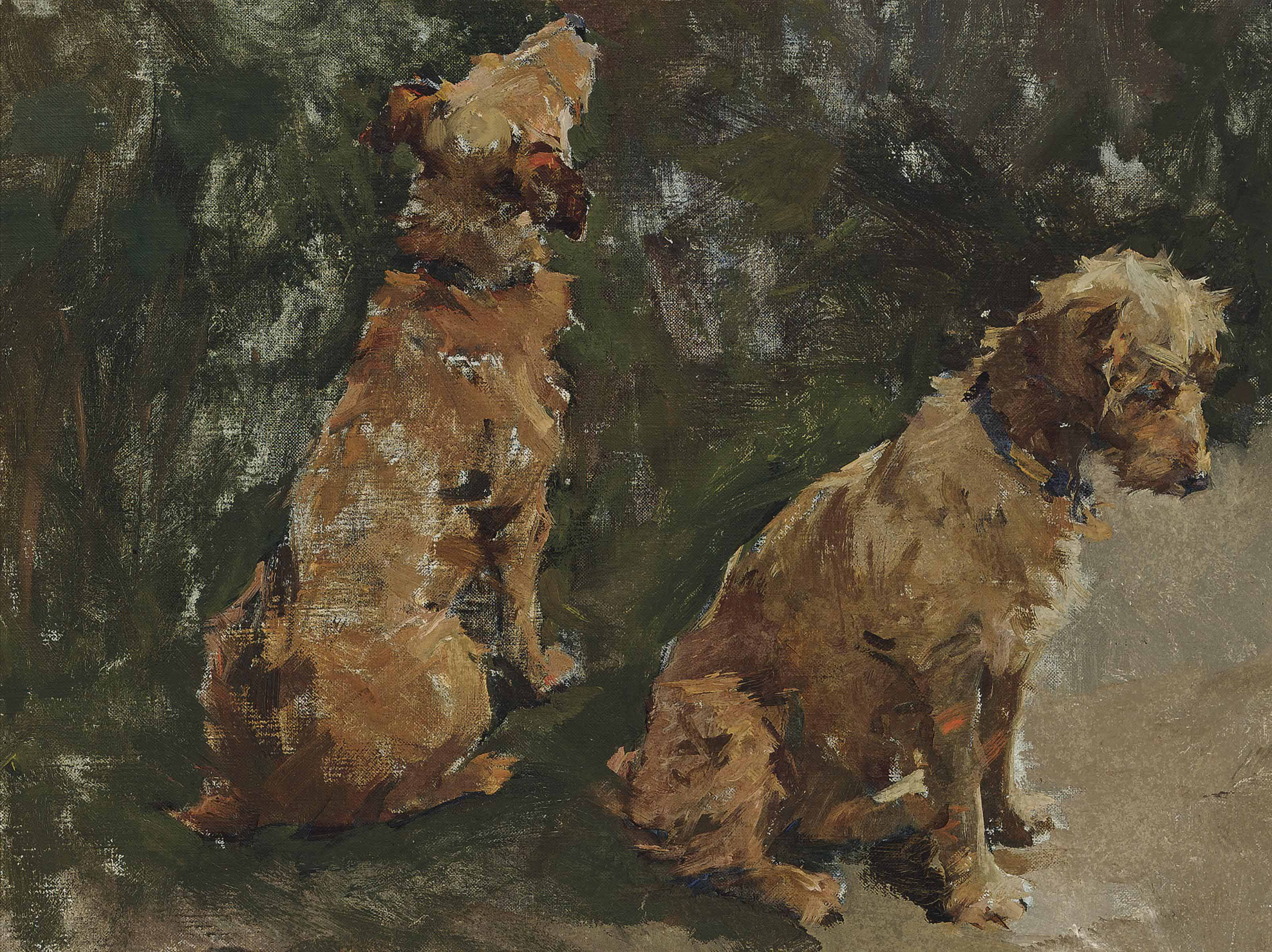 Two terriers: Study for 'The Half Holiday'