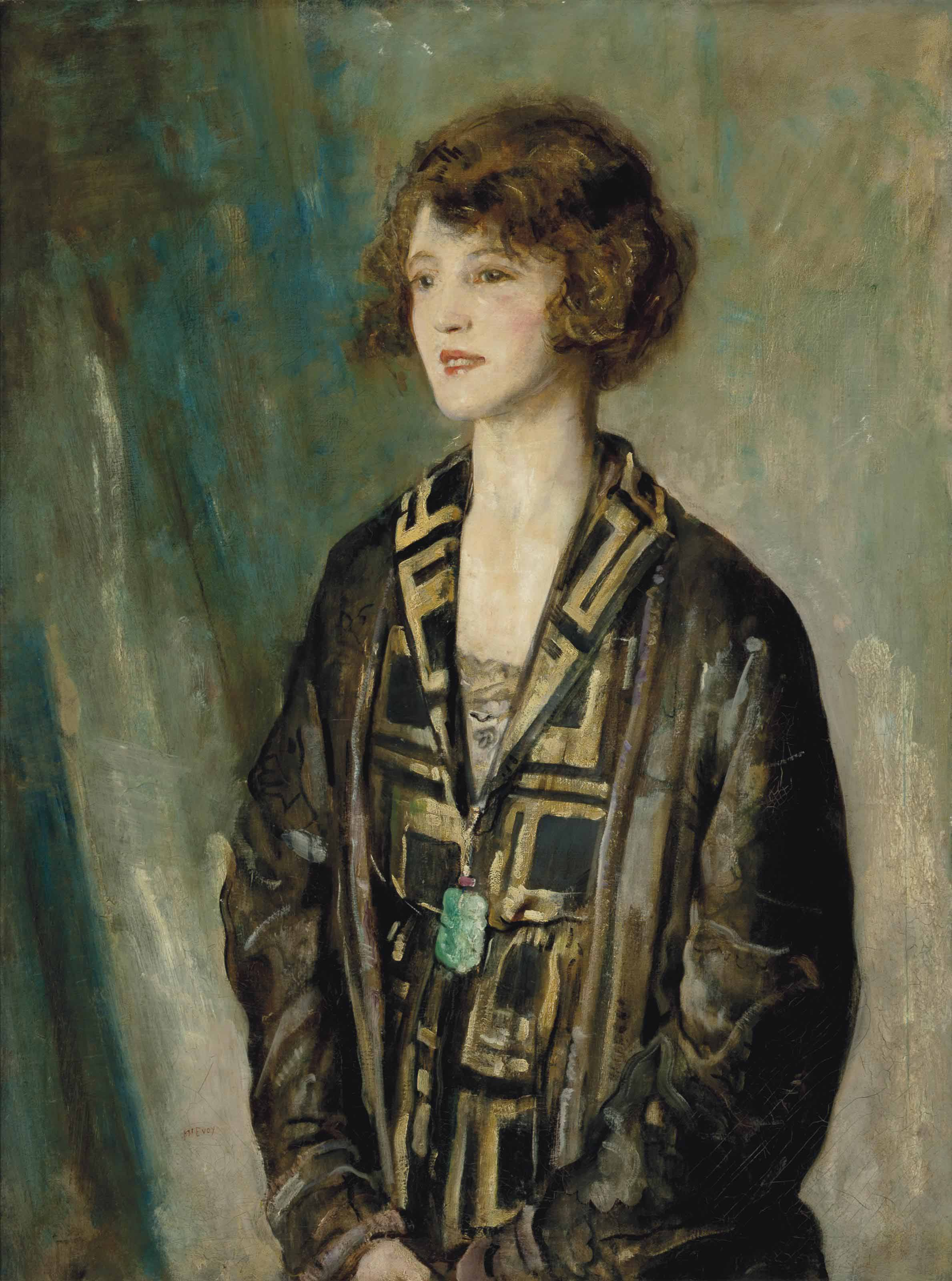 Portrait of Mrs Charles Romer-Williams, wearing a jade pendant