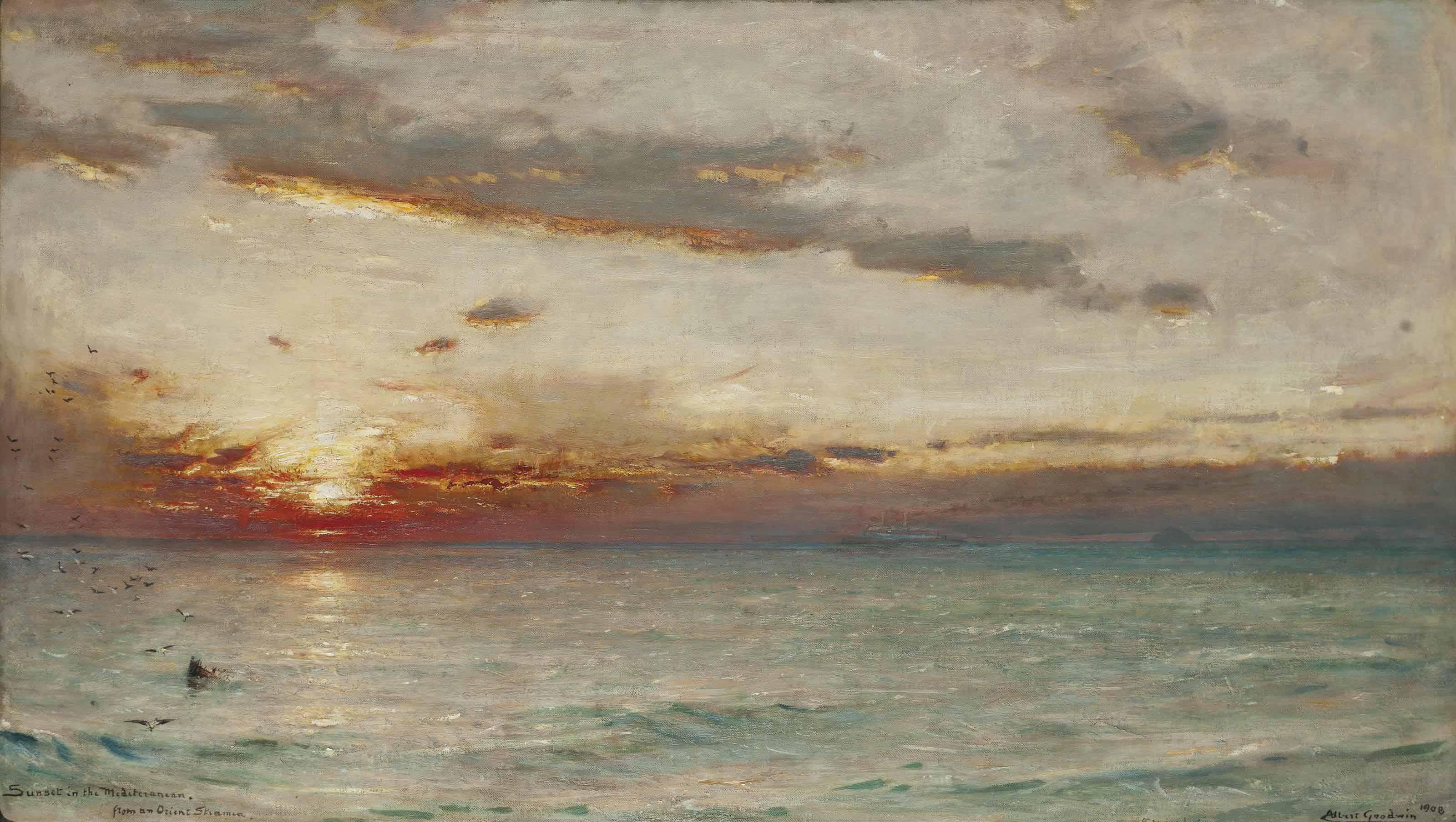 Sunset in the Mediterranean from an Orient steamer