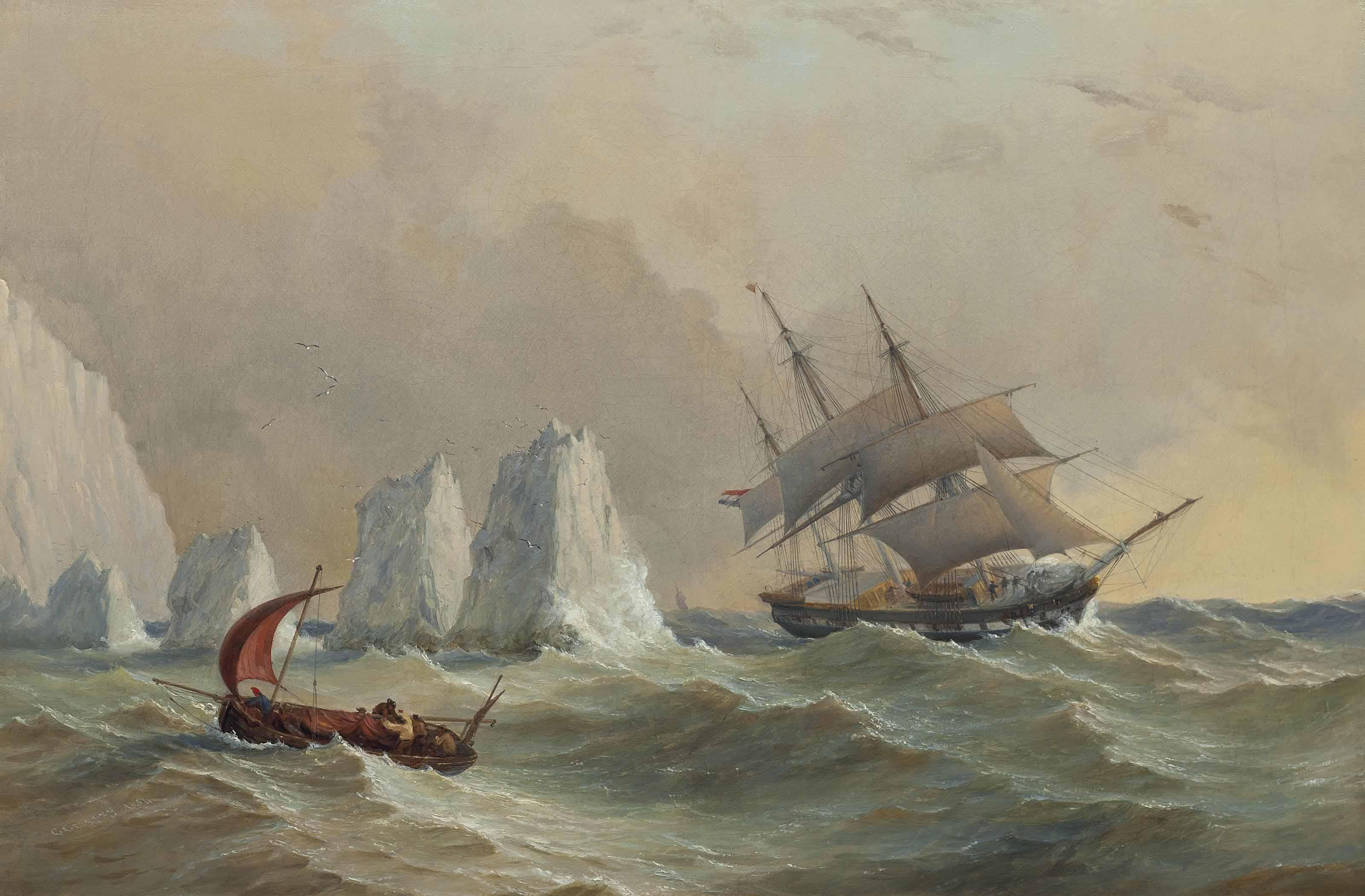 A Dutch merchantman passing the Needles