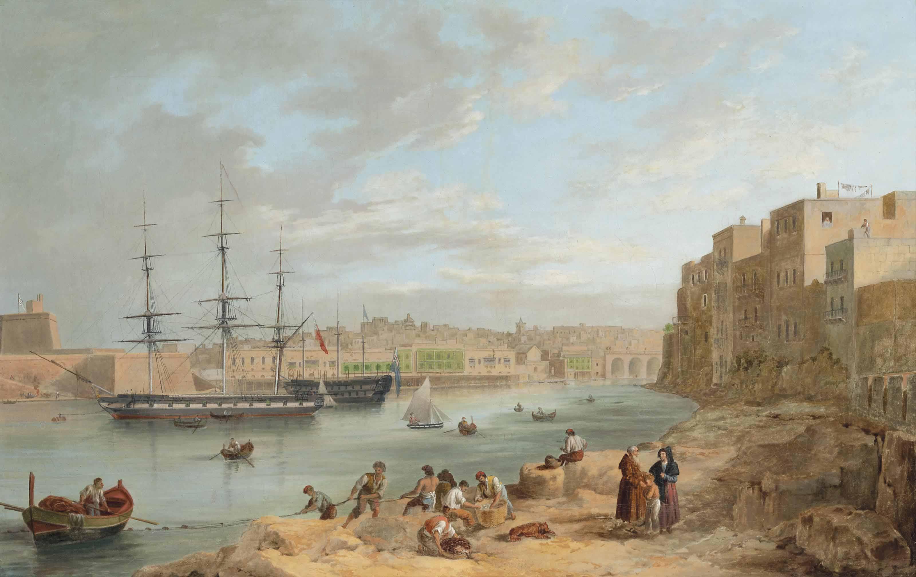 H.M.S. Champion moored off Fort St Angelo, Valetta, Malta