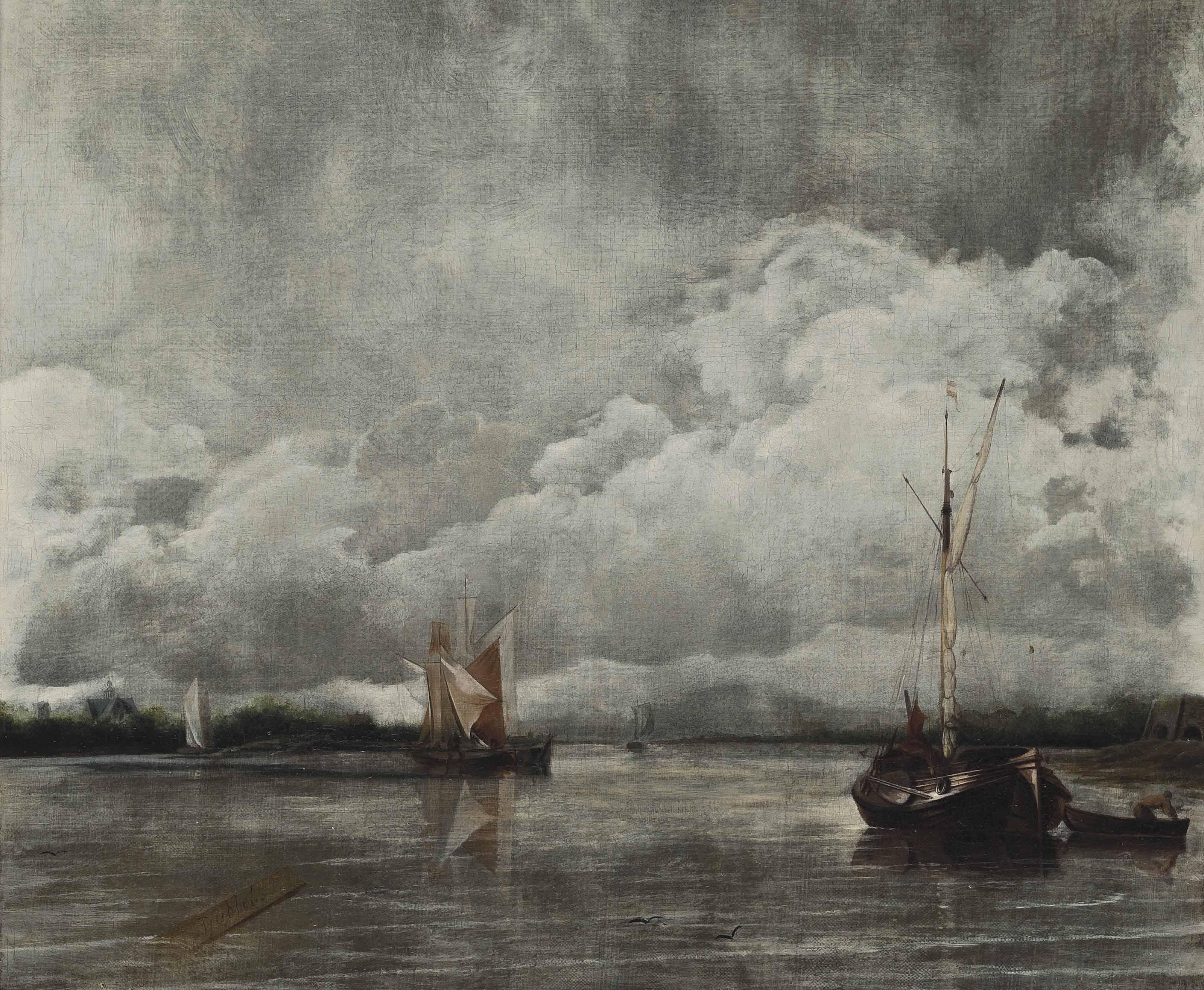 Dutch hoys in a calm
