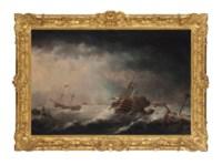 Men-o'war caught in a violent storm