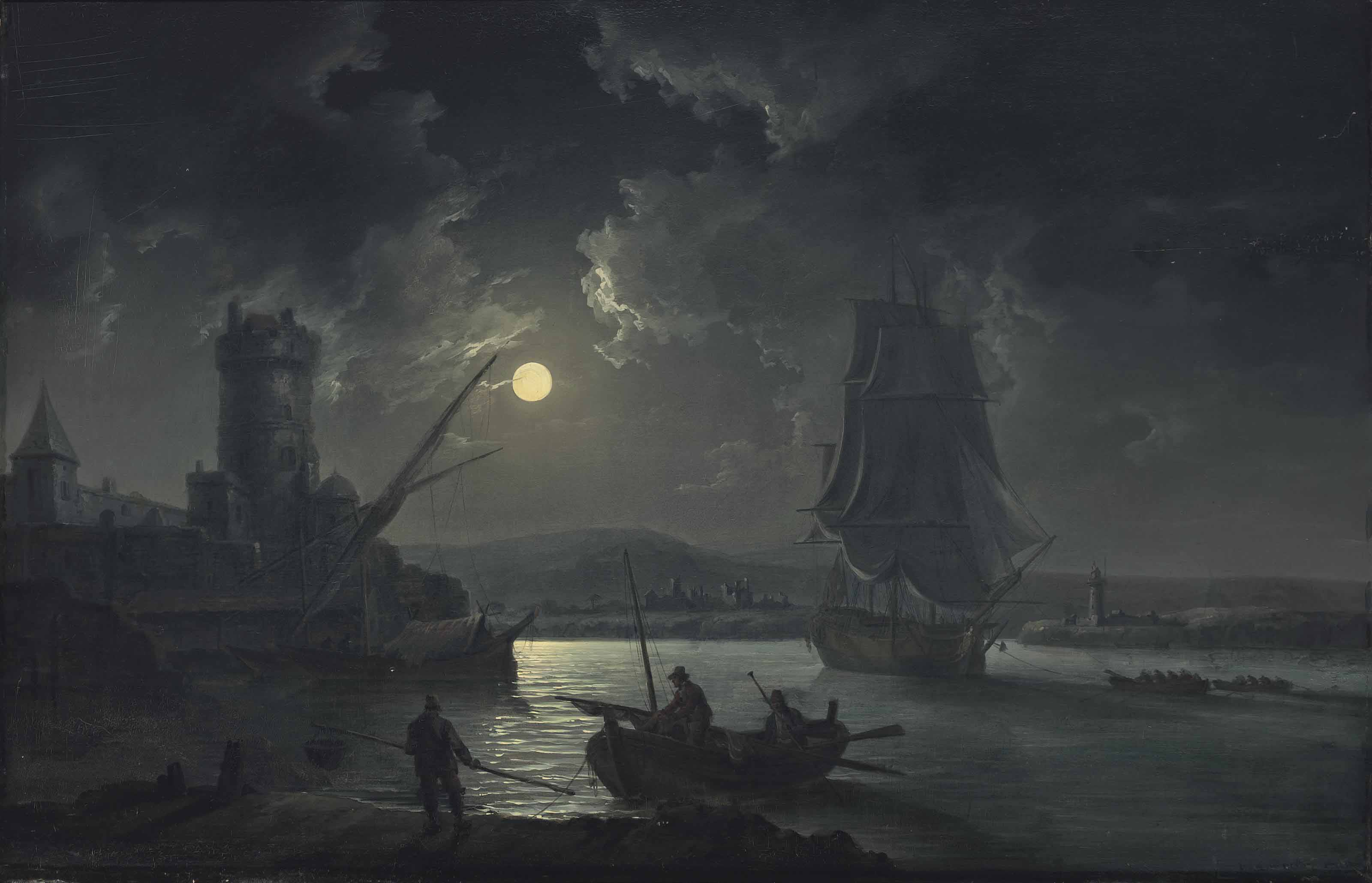 Shipping under a full-moon, with Blackrock Castle beyond