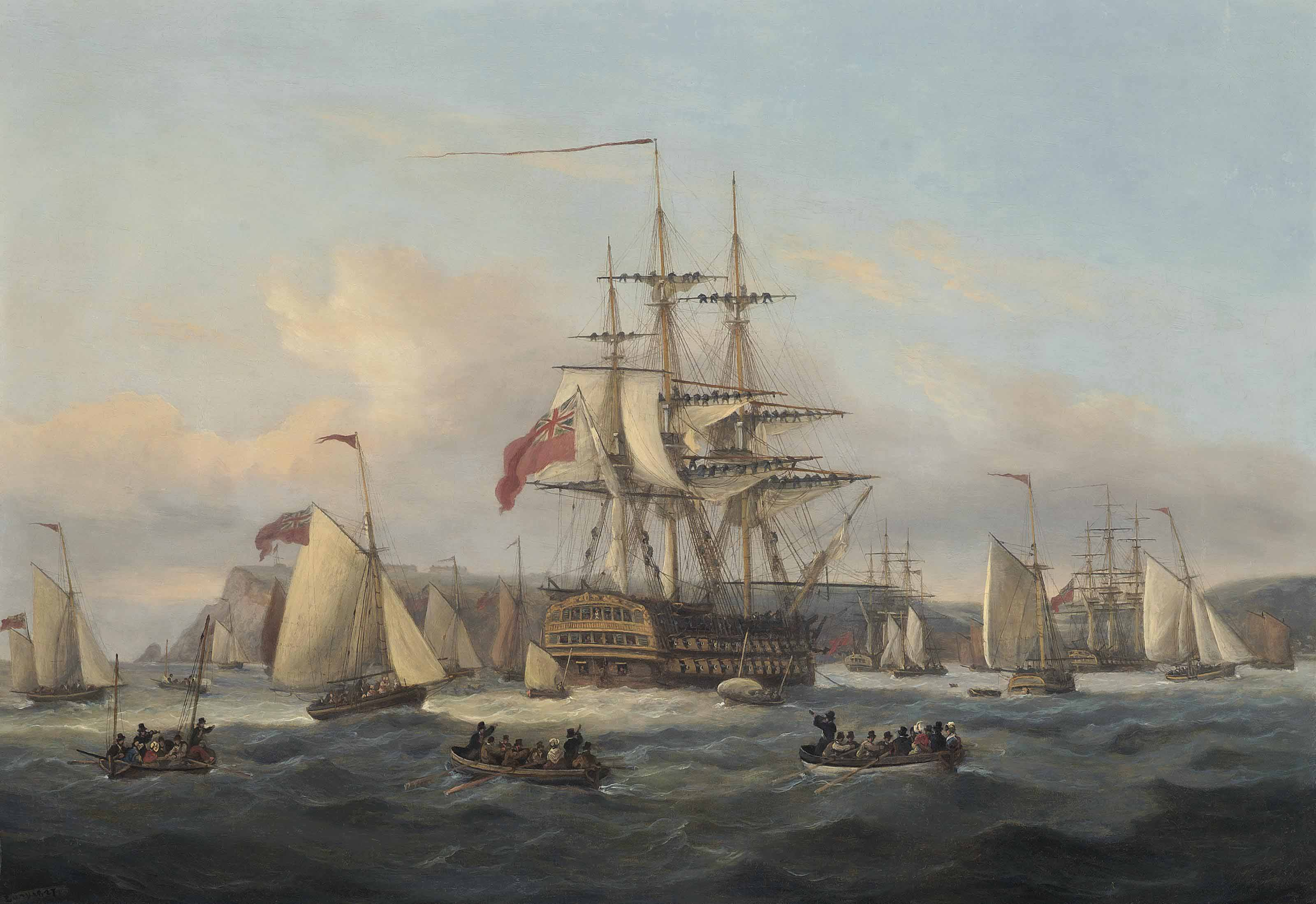 H.M.S. Bellerophon lying at anchor off Berry Head, Torbay with the defeated Emperor Napoleon onboard prior to his transfer onto H.M.S. Northumberland, 6 August 1815
