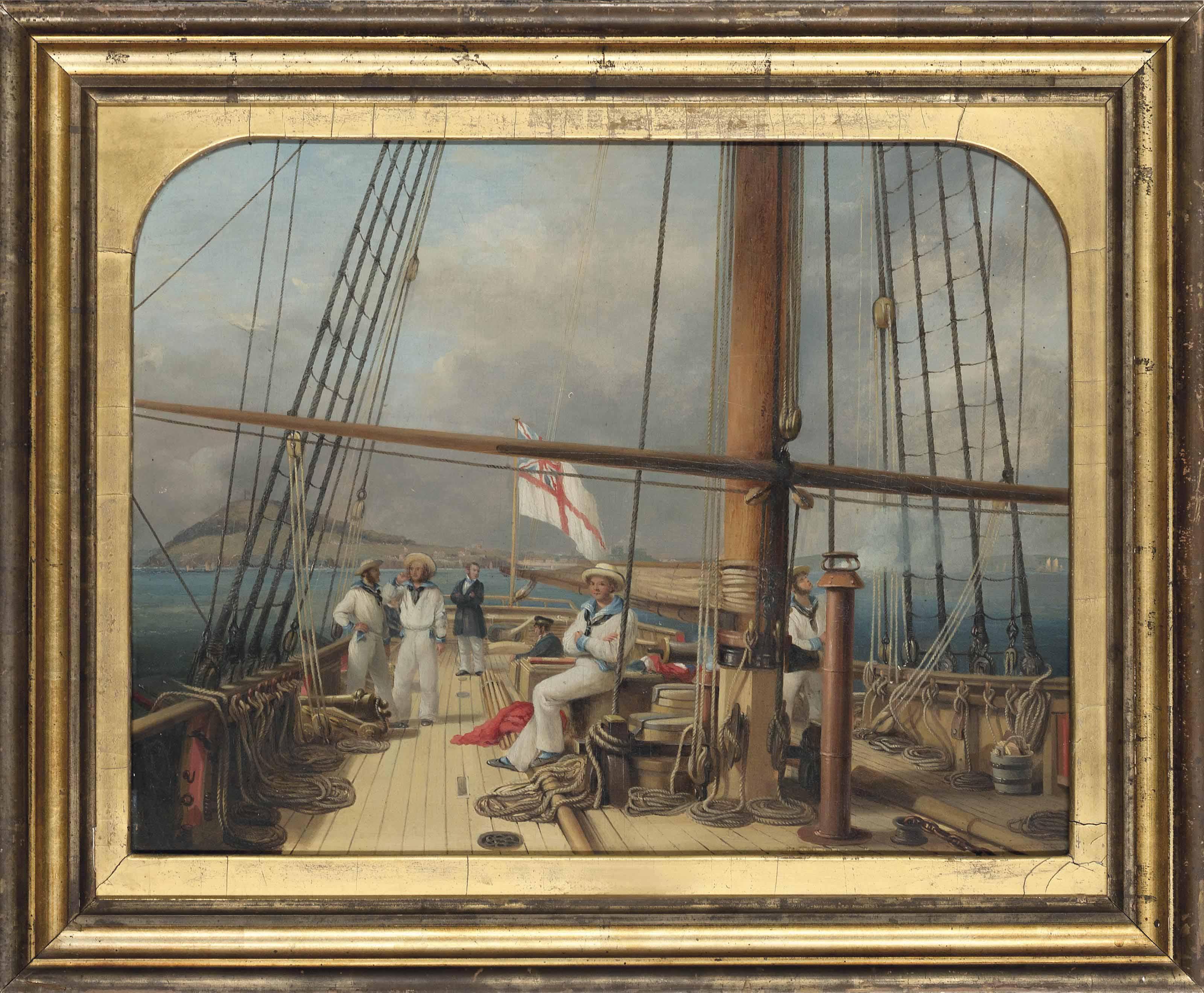 The R.Y.S. cutter yacht Ganymede, with the owner J.H.W. Pigott Smyth Pigott Esq. on deck